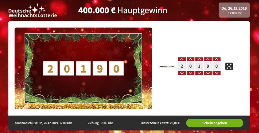 Deutsche WeihnachtsLotterie 2019